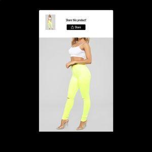NWT Fashion Nova neon canopy jeans